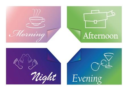 정오: four colored cards with the times of day 일러스트