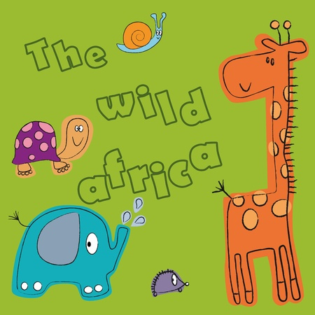The giraffe, hedgehog, elephant, turtle and a snail on a green background. The inscription  Illustration