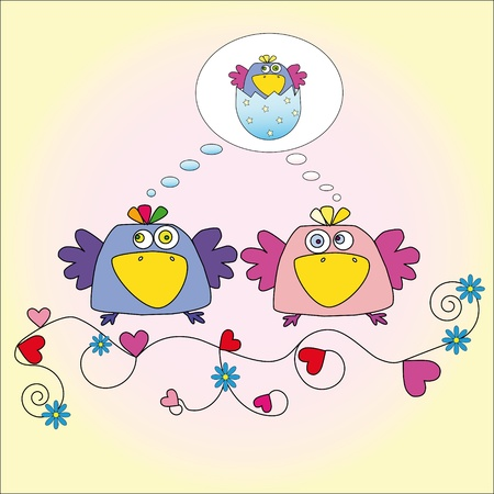 two birds who dream about a little bird Stock Vector - 12946363