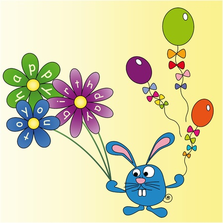 Rabbit with flowers and balloons, congratulations on his birthday