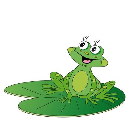 rana caricatura: la rana verde sentado en la hoja verde, y sonríe
