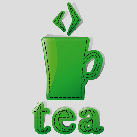 mug with tea and label with the bottom of the Stock Vector - 13089583