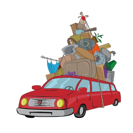 vehicle transporting the furniture Vector