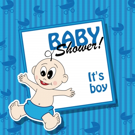 card with boy and label baby shower it