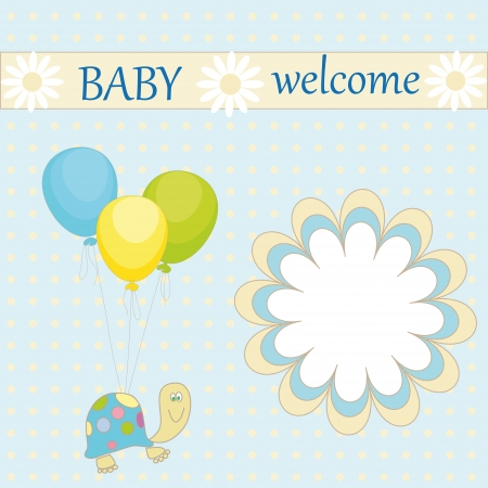 Greeting card with the inscription  baby welcome  with a turtle and a balloon on the abstract background Illustration