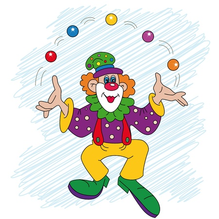 the cheerful clown juggles with balls