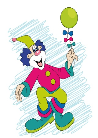 funny clown with ball in hand Illustration