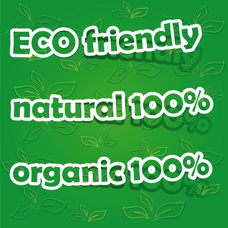 organic 100 , natural 100  and ECO friendly, realistic cut, takes the background color Vector
