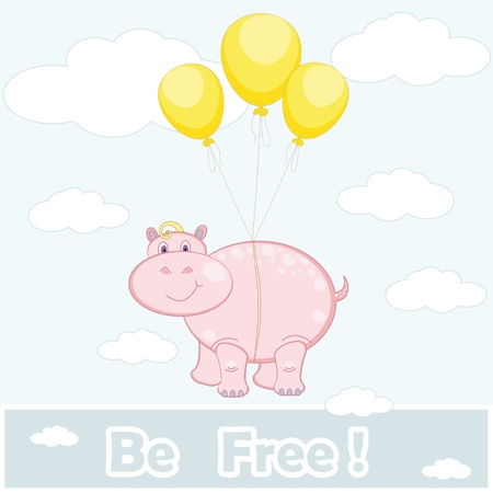 the pink hippopotamus flies on balloons;  be free  inscription Illustration