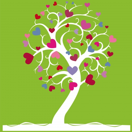 enchanted:  a tree with hearts on light green background