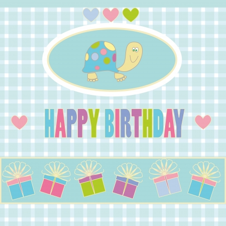 illustration of birthday card with turtle, hearts and gifts on abstract background Stock Vector - 13725208