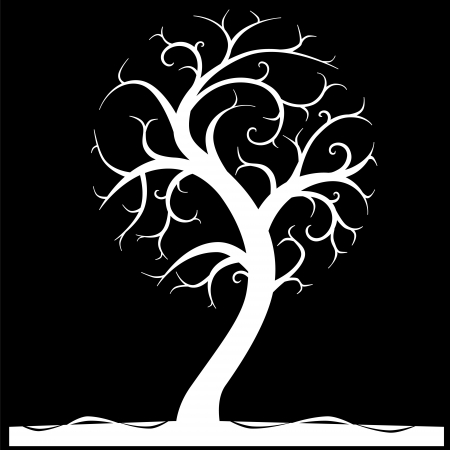 white tree on black background Vector