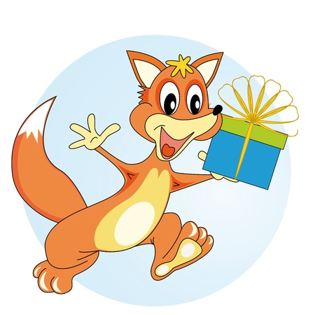 Fox comes with a gift in hand and smiles Illustration