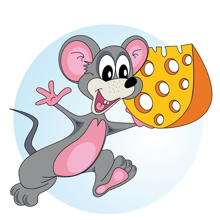 Mouse comes with cheese in his hand and smiling