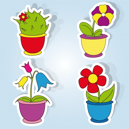 vector set of icons on the flower theme