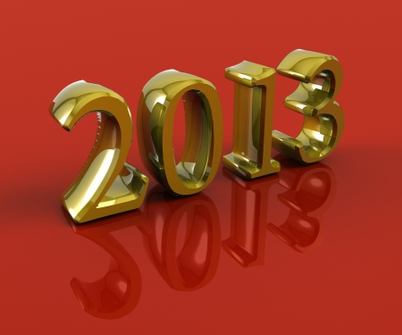 3D 2013 year golden figures with shadow on a red background
