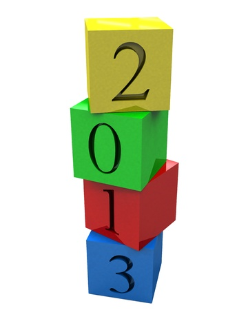 3D 2013 year on colored cubes Stock Photo - 15194137