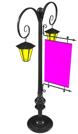 wrought-iron street lamps with a sign for advertising, 3D