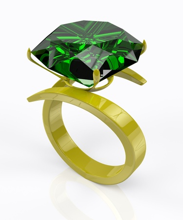 3D gold ring with an emerald on a white background Stock Photo