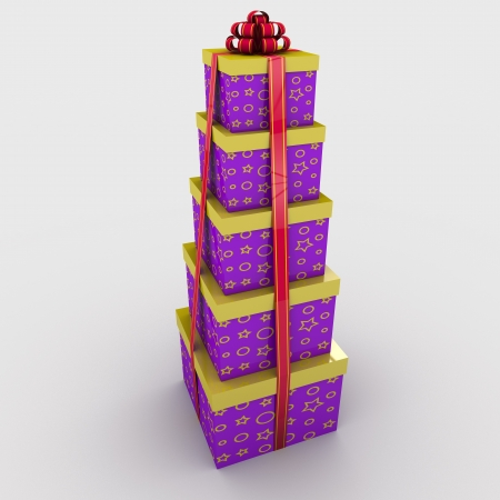 five gift boxes are on each other tied a ribbon with a bow on a white background; 3d illustration Stock Illustration - 15094297