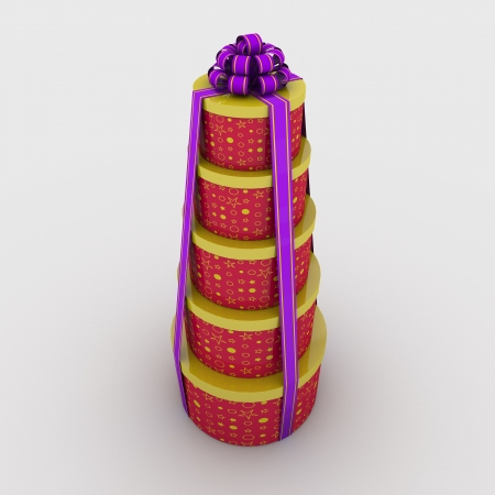 five gift boxes are on each other tied a ribbon with a bow on a white background; 3d illustration