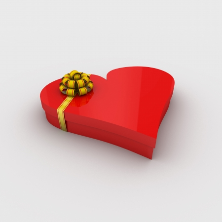 Gift box in the shape of a heart with a bow on a white background; 3d illustration