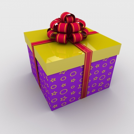 rectangular gift box tied with a bow on a white background; 3d illustration