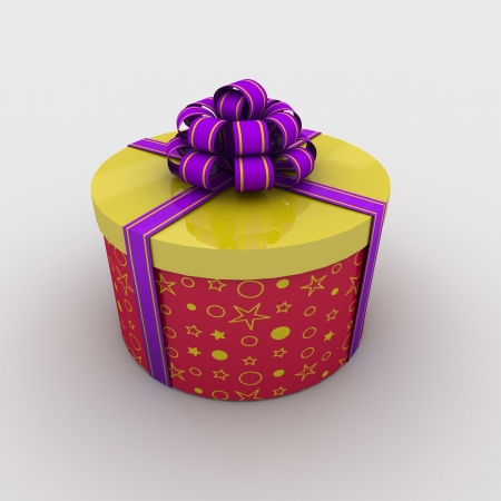 Round gift box tied with a bow on a white background; 3d illustration Stock Illustration - 15094300