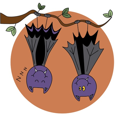 cartoon vampire: Two bat hanging from a tree on the background of the moon