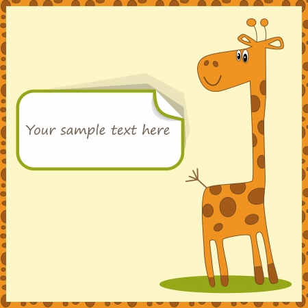 Cute template for postcard with giraffe illustration  Illustration