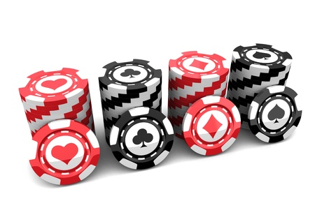 Casino chips over white background