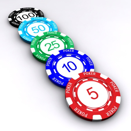 3D Poker chips with numbers on white background