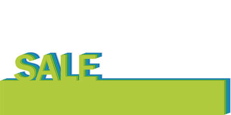 poster with the word sale, realistic cut, takes the background color Illustration