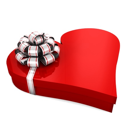 Gift box in the shape of a heart with a bow on a white background; isolated 3d illustration