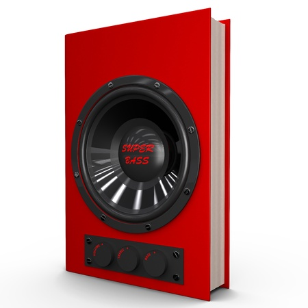The book with the built-in speaker and volume control; 3D illustration of the audiobook