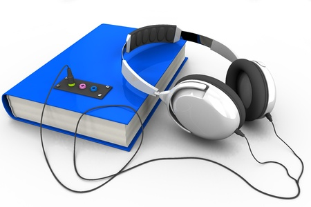 The book with headphones connected; 3D illustration of the audiobook Stock Photo