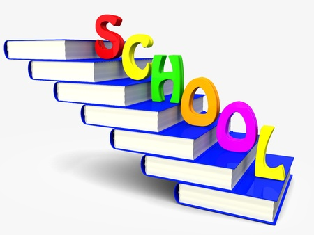 Pile of books is a ladder with the letters of the word  school   3d illustration  Stock Photo