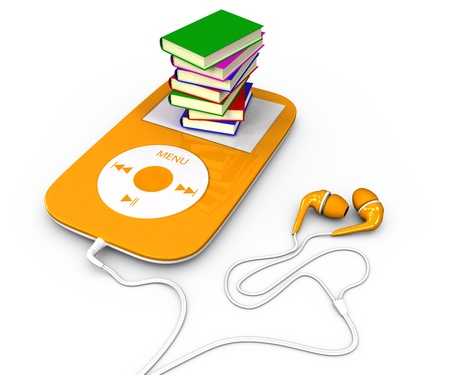 Pile of books lying on mp3 player  3d illustration  audiobook