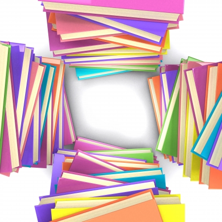 Top view of four stacks of colored books  3d illustration  book