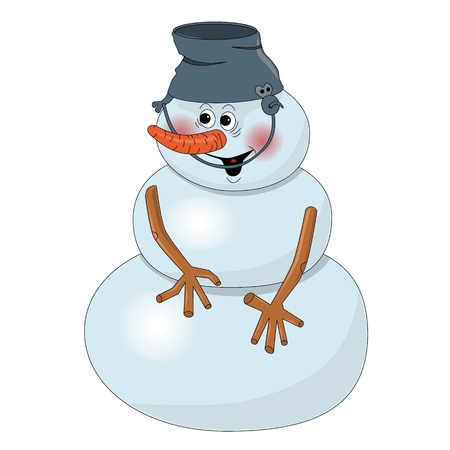 Smiling snowman with a bucket on his head on a white background