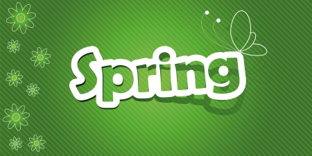 Vector illustration  Spring text  Realistic cut, takes the background color   Illustration