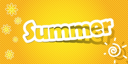 Vector illustration  Summer text  Realistic cut, takes the background color