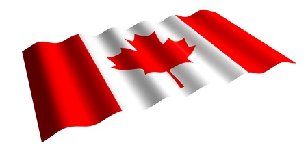 flying the flag of Canada  isolated 3d rendering
