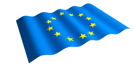 flying the EU flag  3d render  Stock Photo