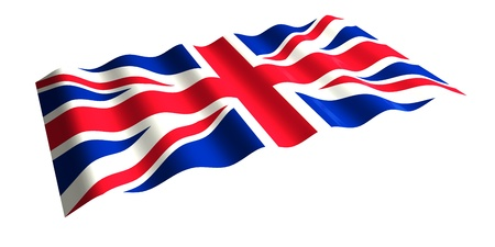 flying the flag of Great Britain  isolated 3d rendering