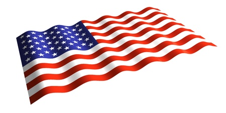 u s: flying the U S  flag  isolated 3d rendering  Stock Photo