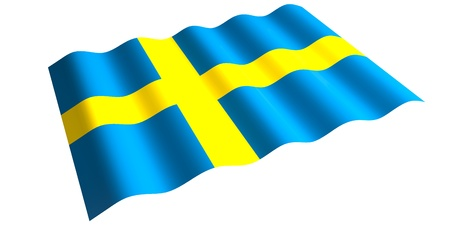 flying the flag of Sweden  isolated 3d rendering