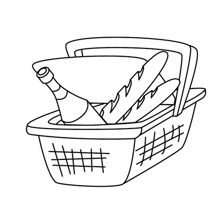 picnic basket with a bottle of wine and a loaf of bread