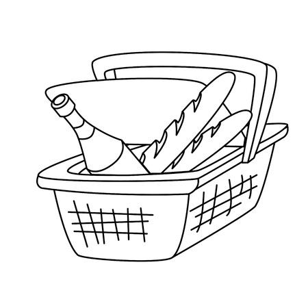 野餐篮子,一瓶酒和一条面包