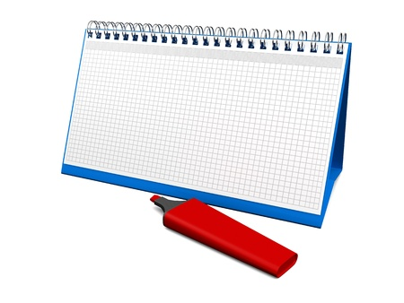 desktop calendar for notes with a red marker  3d render